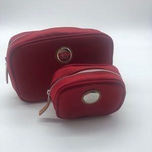 Joy Mangano set of two red travel bags